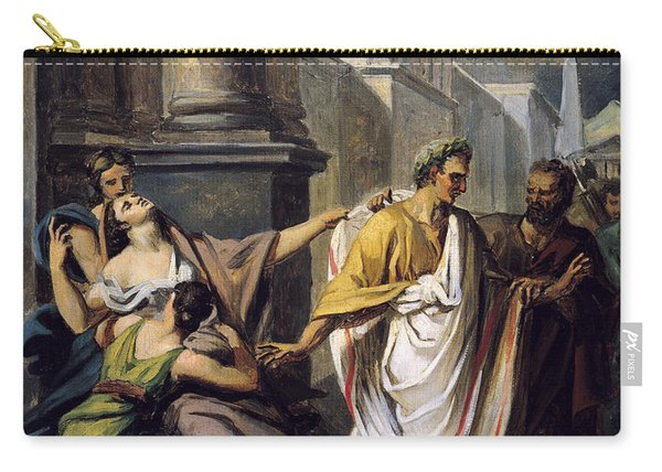 Julius Caesar 100-44 Bc On His Way To The Senate On The Ides Of March Oil On Canvas Study Carry-all Pouch