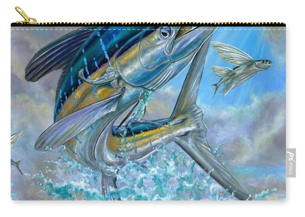 Jumping White Marlin And Flying Fish Carry-all Pouch
