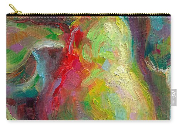 Carry-all Pouch featuring the painting Just A Pear - Impressionist Still Life by Talya Johnson