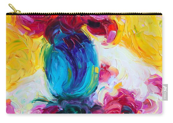 Carry-all Pouch featuring the painting Just Past Bloom - Roses Still Life by Talya Johnson