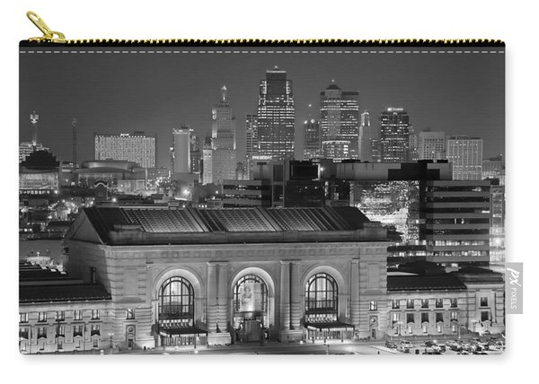 Kansas City Skyline At Night Kc Downtown Black And White Bw Panorama Carry-all Pouch