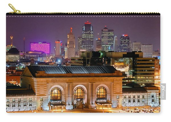 Kansas City Skyline At Night Kc Downtown Color Panorama Carry-all Pouch