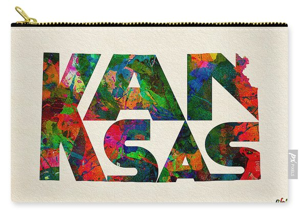 Kansas Typographic Watercolor Map Carry-all Pouch