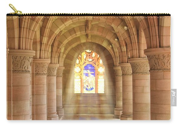 Carry-all Pouch featuring the photograph Kelso Abbey Stained Glass by Susan Leonard