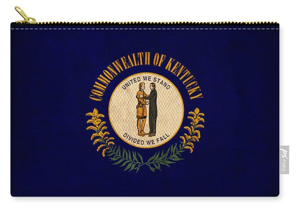 Kentucky State Flag Art On Worn Canvas Carry-all Pouch