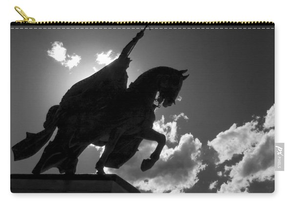 King Horseback Statue Black White Carry-all Pouch
