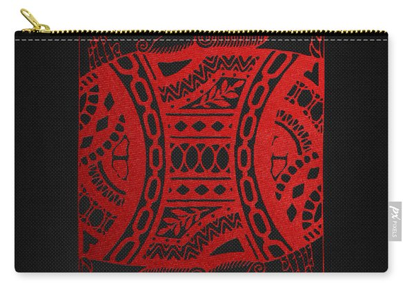 King Of Diamonds In Red On Black Canvas   Carry-all Pouch