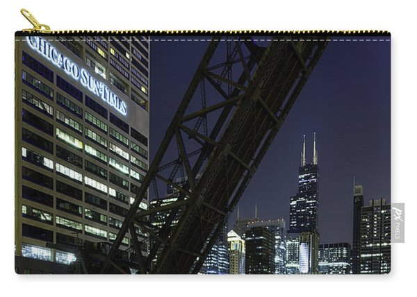 Kinzie Street Railroad Bridge At Night Carry-all Pouch