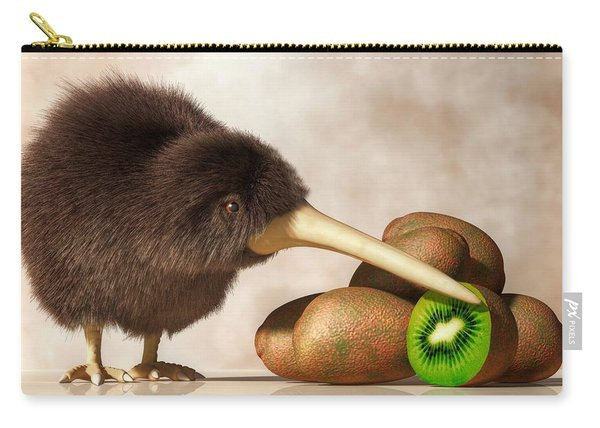 Kiwi Bird And Kiwifruit Carry-all Pouch