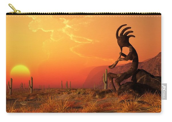 Kokopelli Sunset Carry-all Pouch