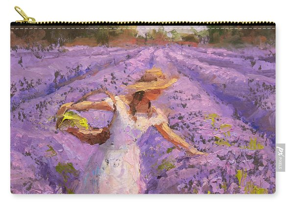 Woman Picking Lavender In A Field In A White Dress - Lady Lavender - Plein Air Painting Carry-all Pouch