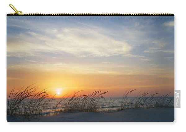 Carry-all Pouch featuring the photograph Lake Michigan Sunset With Dune Grass by Mary Lee Dereske
