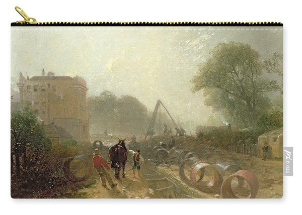 Laying Monster Tubes From The New River, 1855 Oil On Canvas Carry-all Pouch