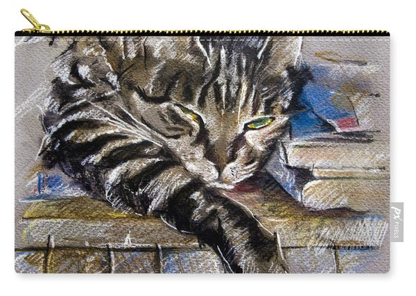 Lazy Cat Portrait - Drawing Carry-all Pouch