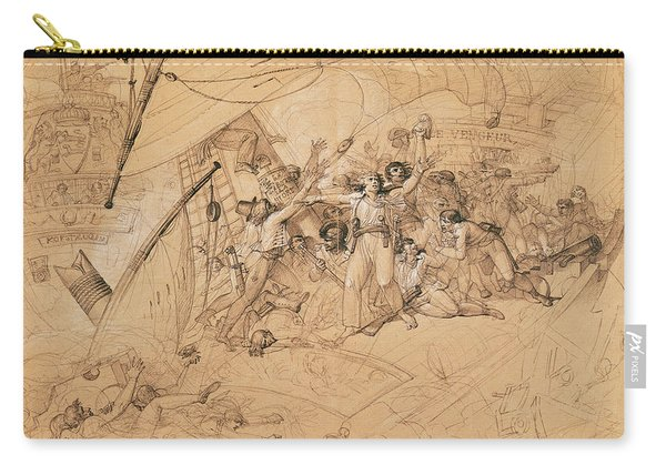 Le Vengeur Du Peuple Sinking At The Battle Of Ouessant, 1st June 1794 Graphite On Paper Carry-all Pouch