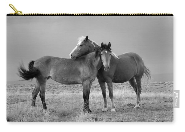 Lean On Me B And W Wild Mustang Carry-all Pouch