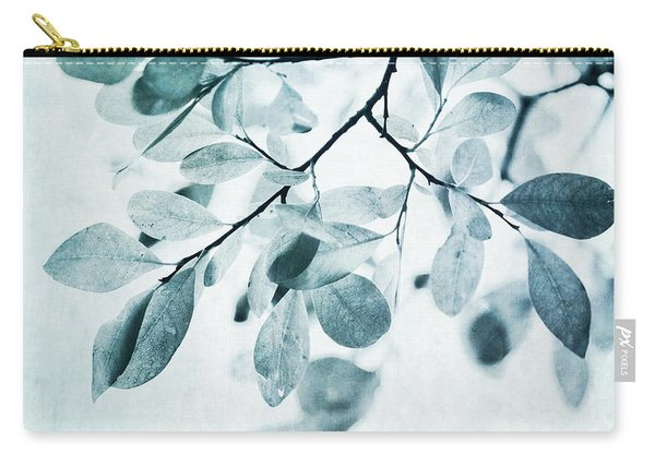 Leaves In Dusty Blue Carry-all Pouch
