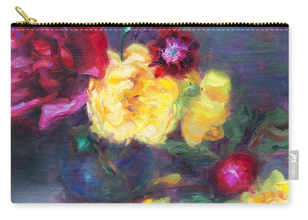 Carry-all Pouch featuring the painting Lemon And Magenta - Flowers And Radish by Talya Johnson