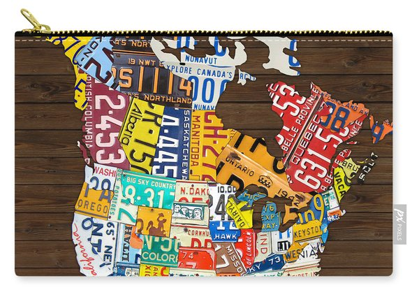 License Plate Map Of North America - Canada And United States Carry-all Pouch