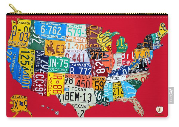 License Plate Map Of The United States On Bright Red Carry-all Pouch