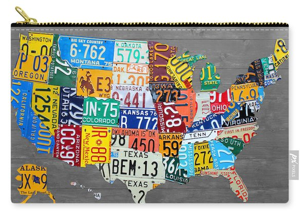 License Plate Map Of The United States On Gray Wood Boards Carry-all Pouch