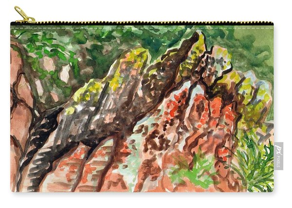 Carry-all Pouch featuring the painting Lichen Rocks by Ashley Kujan
