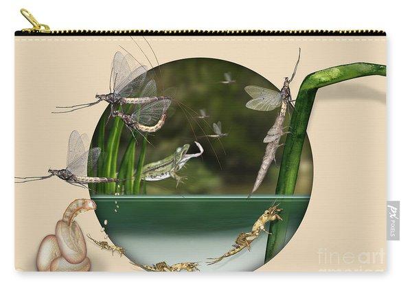 Life Cycle Of Mayfly Ephemera Danica - Mouche De Mai - Zyklus Eintagsfliege - Stock Illustration - Stock Image Carry-all Pouch