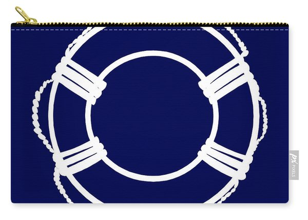 Life Preserver In White And Navy Blue Carry-all Pouch