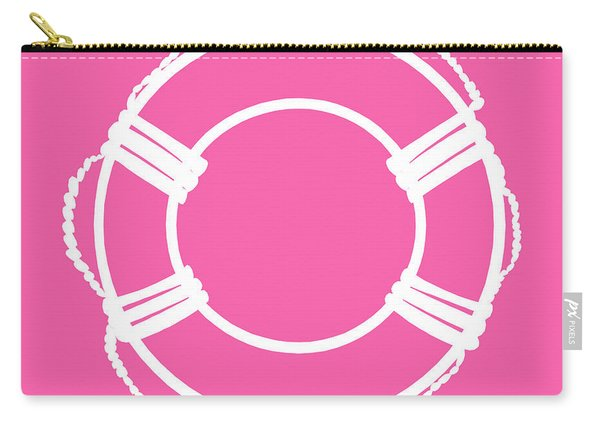 Life Preserver In White And Pink Carry-all Pouch