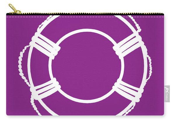 Life Preserver In White And Purple Carry-all Pouch