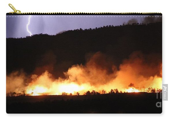 Carry-all Pouch featuring the photograph Lightning During Wildfire by Bill Gabbert