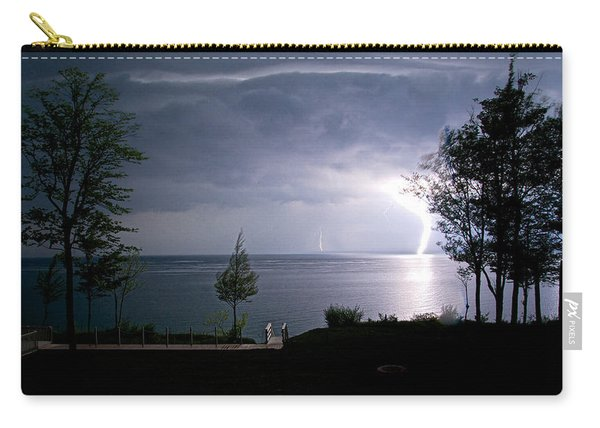 Carry-all Pouch featuring the photograph Lightning On Lake Michigan At Night by Mary Lee Dereske