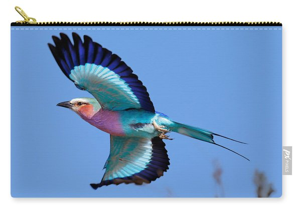 Lilac-breasted Roller In Flight Carry-all Pouch