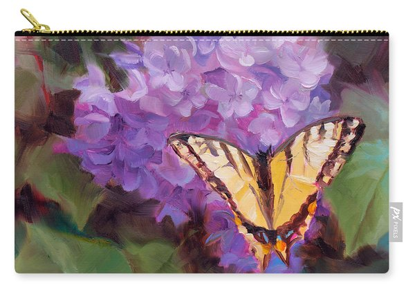 Lilacs And Swallowtail Butterfly Purple Flowers Garden Decor Painting  Carry-all Pouch