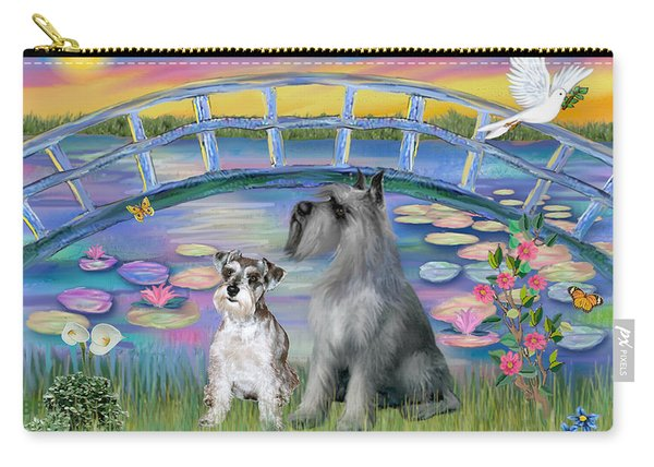 Lily Bridge With Two Schnauzers Carry-all Pouch