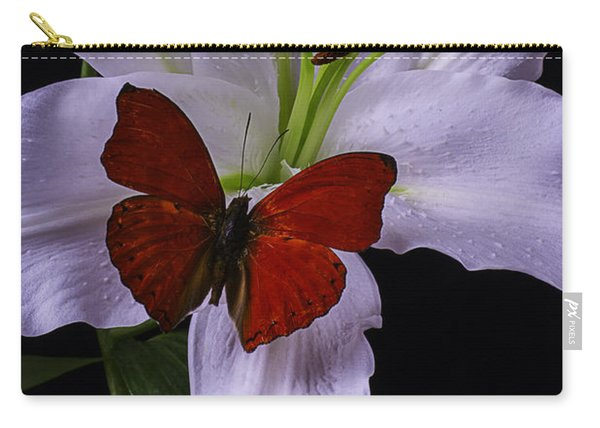 Lily With Red Butterfly Carry-all Pouch