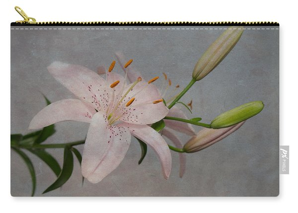 Pink Lily With Texture Carry-all Pouch