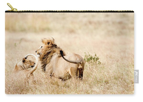 Lion And A Lioness Panthera Leo Carry-all Pouch