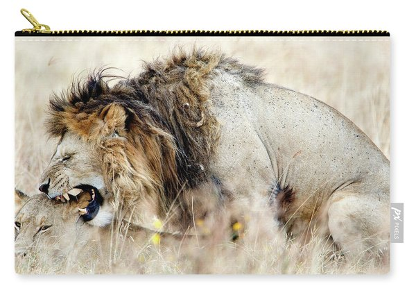 Lion And A Lioness Panthera Leo Mating Carry-all Pouch