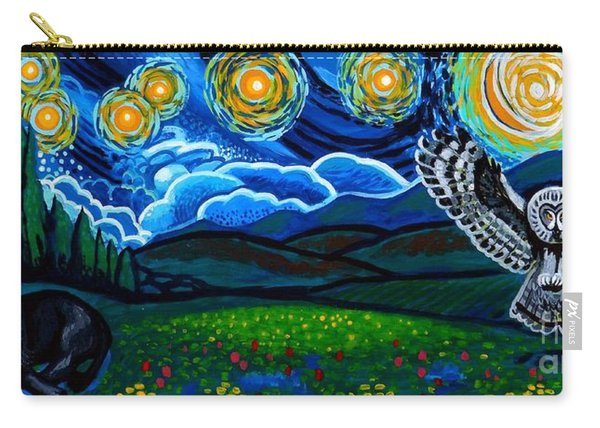 Lion And Owl On A Starry Night Carry-all Pouch