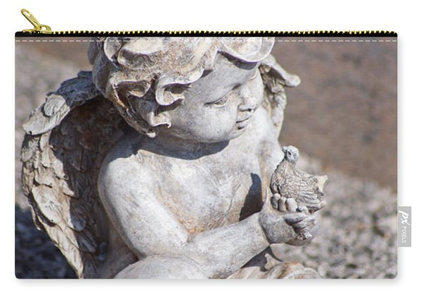 Little Angel With Bird In His Hand - Sculpture Carry-all Pouch