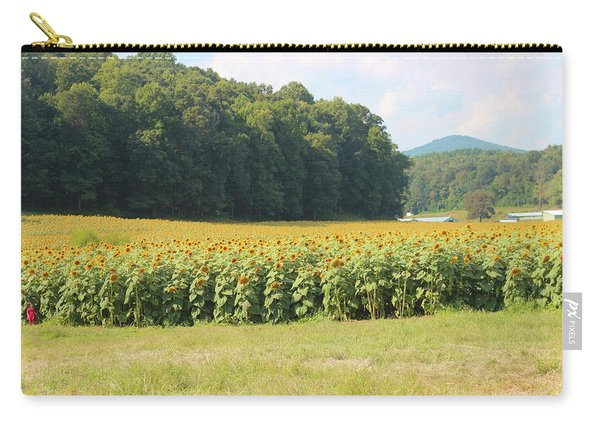 Little Girl And Big Sunflowers Carry-all Pouch