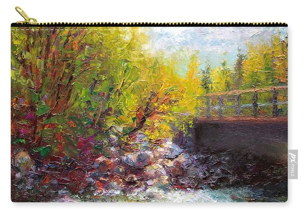 Carry-all Pouch featuring the painting Living Water - Bridge Over Little Su River by Talya Johnson