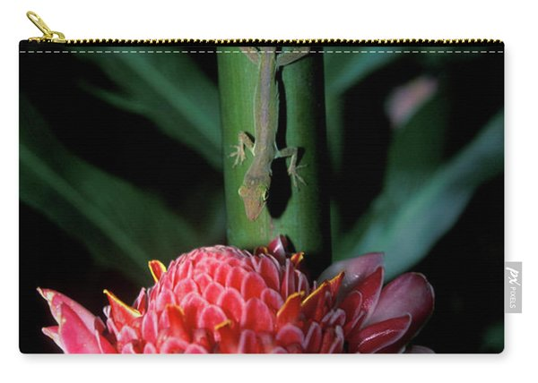 Lizard On Stalk Above Wax Lily Carry-all Pouch