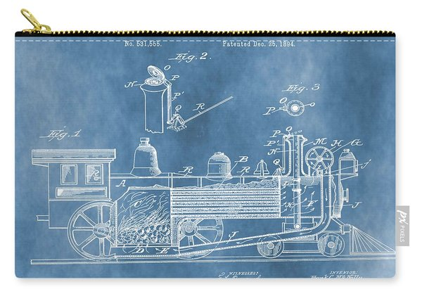 Locomotive Patent On Blue Carry-all Pouch