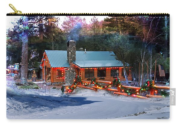 Carry-all Pouch featuring the photograph Log Home On Mount Charleston With Christmas Decoration by Gunter Nezhoda