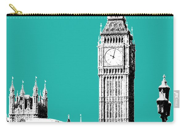 London Skyline Big Ben - Teal Carry-all Pouch