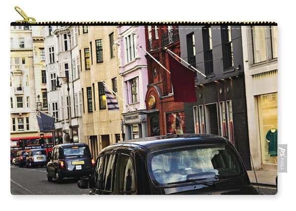 London Taxi On Shopping Street Carry-all Pouch