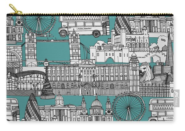 London Toile Blue Carry-all Pouch
