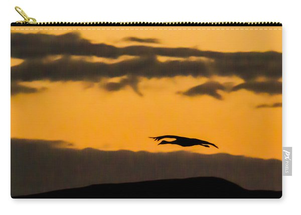 Lone Flying Sandhill Crane At Sunset Carry-all Pouch